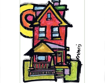 Whimsical Colorful Art City House - Limited Edition Reproduction Upstate New York Neighborhood homes