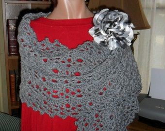 Crocheted  Wrap -  Cape - Shawl - Scarf  with Flower Brooch  Women Accessories Outerwear  ''OASIS''  in Heather Gray