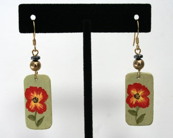 Floral Wooden Hand Painted Dangling Earrings