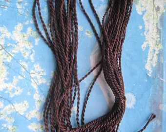 New come --20pcs 2mm 18 inch dark brown twist silk necklace cords with ball and knot