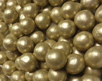 Fondant Edible Pearls - Gold edible pearls - wedding cake decoration , cupcake topper, cookie decoration