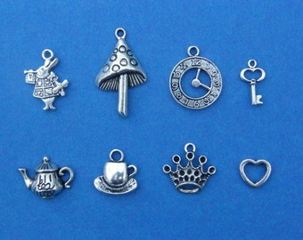 The Alice in Wonderland Collections - 8 different antique silver tone charms