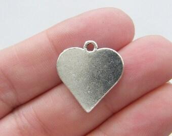 6 Heart card suit charms antique silver tone P273
