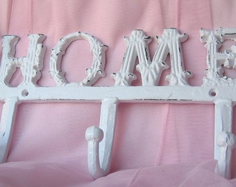 Cast Iron Home Wall Hanger  Hook  Rack in White/Cottage Chic/ For the home/ Organize/ French Cottage/ French Country