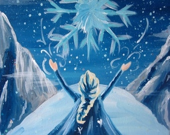 Frozen Queen Elsa Winter Snow Scene-Princess Art work Painting  on 8x10 Canvas/Nursery/Kids/ Girls Room/ Home Decorating