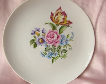 Shabby Chic  Floral Rose Hand Painted Plate/ French decor