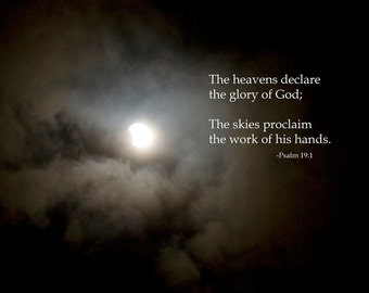 The Heavens Declare photographic inspirational print, psalm 19-1, moon eclipse, christian art, scripture art, art posters, wall decor