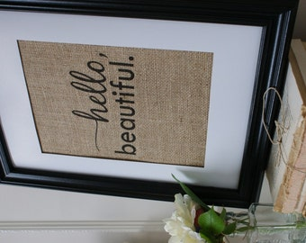 Free US Shipping...beautiful Burlap Print. Great for wedding gift, engagement gift, anniversary gift!