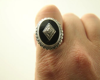 Deco Onyx & Marcasite Ring - Sterling Silver - Vintage
