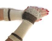 Fingerless Gloves, Knit Gloves, Texting Gloves, Mittens, Brown And White, Taupe, Girls, Womens, Fiber Art