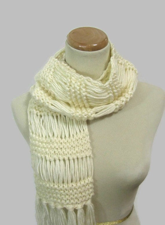 White-ish Hand Knit Scarf,  White Scarf, Winter Scarf, Hand Knit Scarf, Womens Scarf, Fashion Scarf,