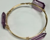 Bangle Bracelet, Purple Wire Wrapped Bangle, B&B Bangle Style