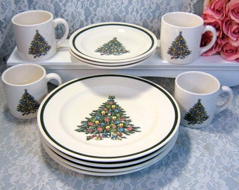 vintage royal china usa christmas tree dinnerware set plates and cups eleven piece set