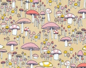 Certified Organic Cotton fabric by Cloud9 and Sarah Watson, Arcadia - Mushroom March Coral - End of bolt 35""