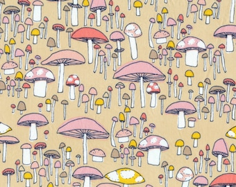 """Certified Organic Cotton fabric by Cloud9 and Sarah Watson, Arcadia - Mushroom March Coral - End of bolt 35"""""""