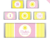 Sunshine Party - Personalized DIY printable chocolate bar labels