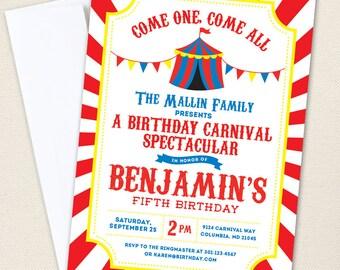 Carnival or Circus Invitations - Professionally printed *or* DIY printable