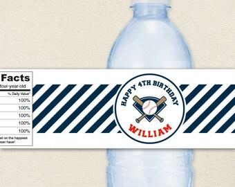 Baseball Party - 100% waterproof personalized water bottle labels