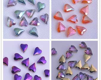 10pcs 12X10mm Exquisite Heart Shape Facted Crystal Glass Charms Loose Spacer Beads Jewelry Making Crafts Findings ---8 Colors YX035