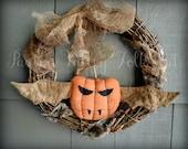 Halloween Wreath Primitive Folk Art Jack O'Bat Door Hanger Spooky Vampire Pumpkin Bat Fall Decor