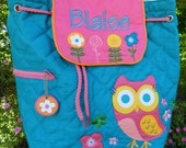 personalized monogram girl owl Stephen Joseph quilted backpack/diaper bag/birthday gift/baby shower gift