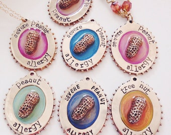 Peanut Allergy Medical Alert Charm Necklace in Pink