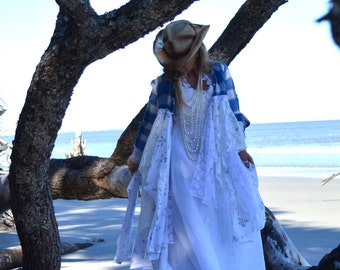 Gypsy vagabond coat, bohemian Bridal jacket Stevie Nicks style, Shabby lace linen, romantic Victorian waistcoat, true rebel clothing