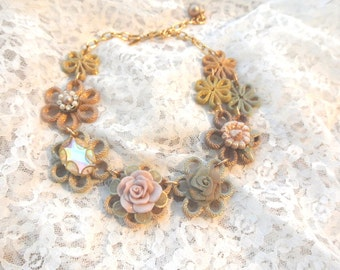 Romantic Victorian choker, shabby chic floral necklace, Anthropologie rose bib, altered jewelry, women's, gifts for her, True rebel clothing