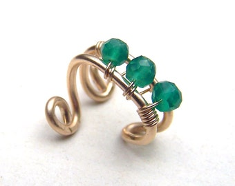 Emerald Ear Cuff Gold Ear Cuff 14k Gold Filled Bridal Earcuff May Birthstone Emerald Body Jewelry Bohemian Wedding Ear Wrap