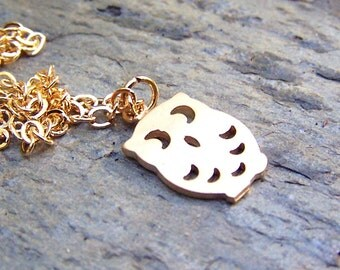 Gold Owl Necklace Cute Little Owl Jewelry