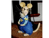 Artist teddy mouse 7inch Geofrey, Brambley hedge design,jointed, dressed as shown,glass eyes,  20%discount