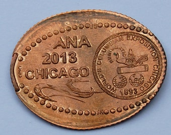 OOAK Elongated South Africa 2 Cent Wildebeest - 2013 American Numismatic Association Convention Souvenir - Rolled Personally by Ray Dilliard