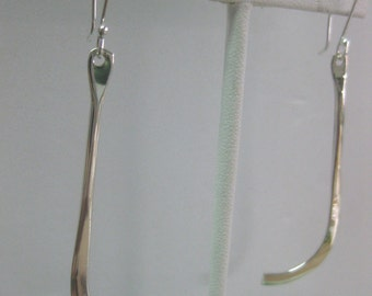 Sterling Silver Long Angled Dangle Earrings