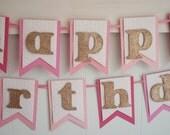 Birthday Banner - Happy Birthday Banner - Birthday Decoration - Birthday Garland - Birthday Photo Prop -Pink Ombre