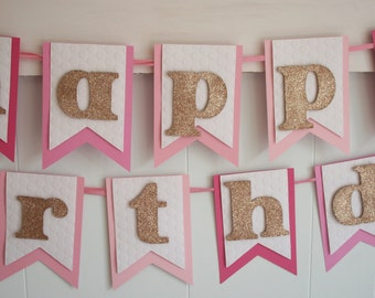 Birthday Banner - Happy Birthday Banner - Birthday Decoration - Birthday Garland - Birthday Photo Prop -Pink Ombre