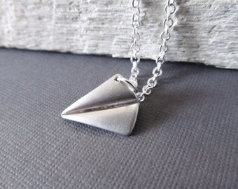 Paper Plane Necklace, Silver Pendant Necklace, Origami Necklace, Paper Airplane Necklace, Whimsical Jewelry,  Direction Necklace