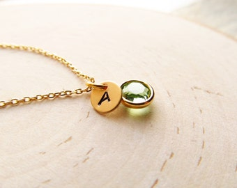 New Mom Necklace, Gold Birthstone and Initial Charm, Birthstone Necklace, Personalized Necklace, Mothers Jewelry, New Baby, Push Present