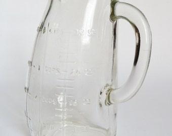 Vintage Glass Pot Belly 1 qt. Measuring Pitcher