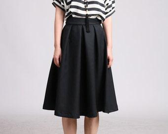 Pleated Midi Skirt - Black Tropical Wool