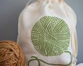 Knitting Bag, Yarn Bag, Organic Linen Drawstring Bag, Cloth Gift Bag ,  Bread Bag , Screen Printed with Yarn Design