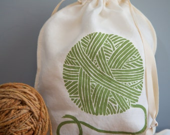 Knitting Bag, Yarn Bag, Organic Linen Drawstring Bag, Cloth Gift Bag ,  Bread Bag , Screen Printed with Yarn Design
