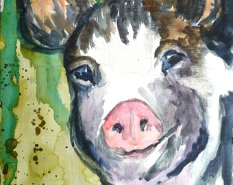 Happy Pig Watercolor Print by Maure Bausch