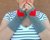 Grey Fingerless Gloves, Heart Fingerless Gloves, Crochet, Crocheted Fingerless Gloves, Arm Warmers, Wrist Warmers, Fingerless Mittens, Mitts