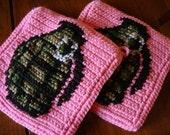 Grenade Potholders, Two Crochet Potholders, Pink Pot Holders, Crochet, Crocheted, Grenade, Camouflage Potholders, Gift