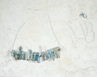 Denim Blue Kyanite Necklace, Chunky Raw Stone Blue Gemstone, Geometric Jewelry, Organic Stones, Statement Necklace