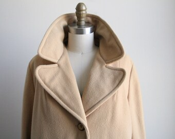 Vintage Tan Wool Coat - Vintage Wool Coat with Pockets - 1970s Women's Vintage Coat
