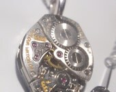 Steampunk Premium Clockwork Necklace (small Diamond) Gears on Surgical Stainless Steel Chain gear box necklace Bulova sp12