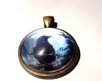 Raven Necklace, bronze pendant on matching bronze chain