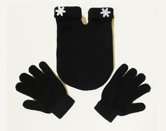 Snowflake Smittens, couples mitten (for holding hands when its cold outside) GLoves and Smitten Card Included, FREE Shipping