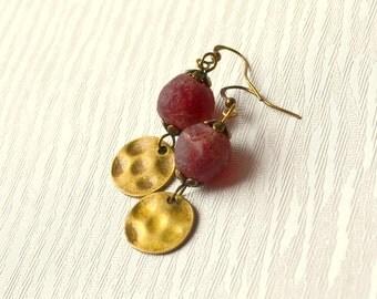 Red glass dangle earrings African earrings Boho jewelry Bohemian earrings vintage style Rustic earrings Recycled glass beads Ethnic earrings